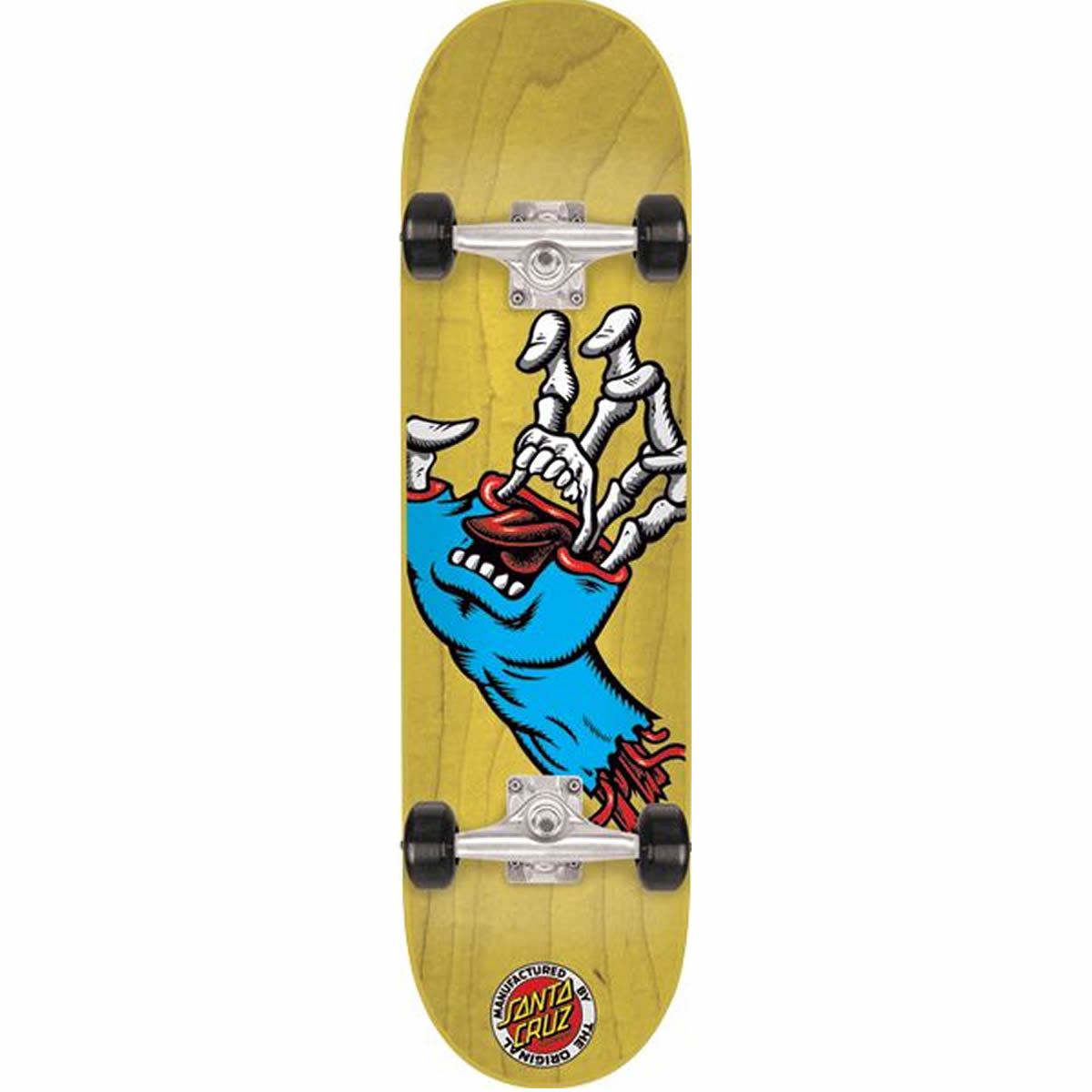 Santa Cruz Hybrid Hand - Natural/Blue - 6.75in x 28.5in - Complete Skateboard